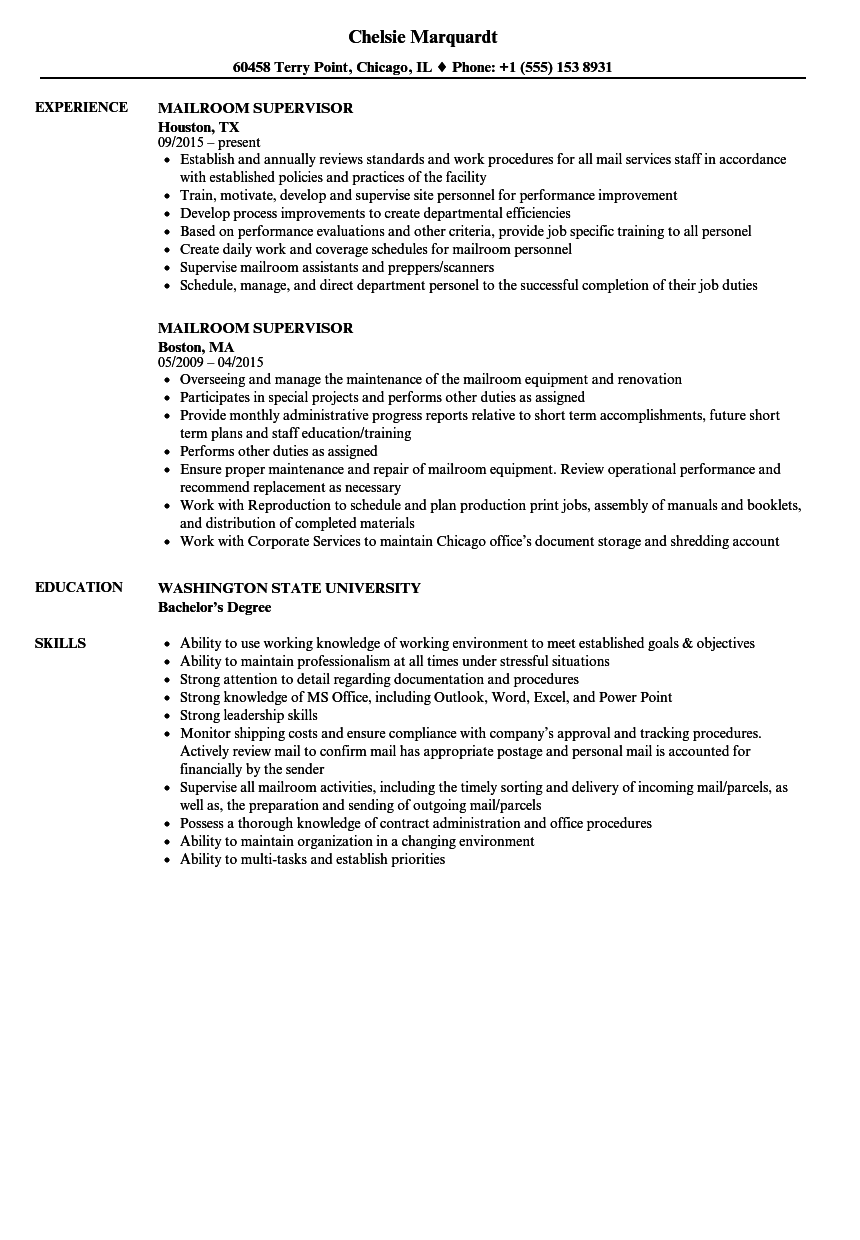 mailroom supervisor resume samples velvet jobs