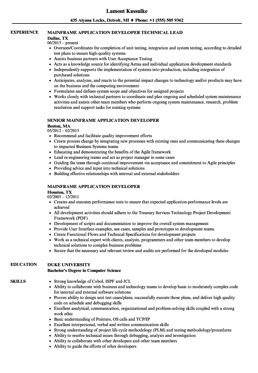Mainframe Application Developer Resume Samples | Velvet Jobs