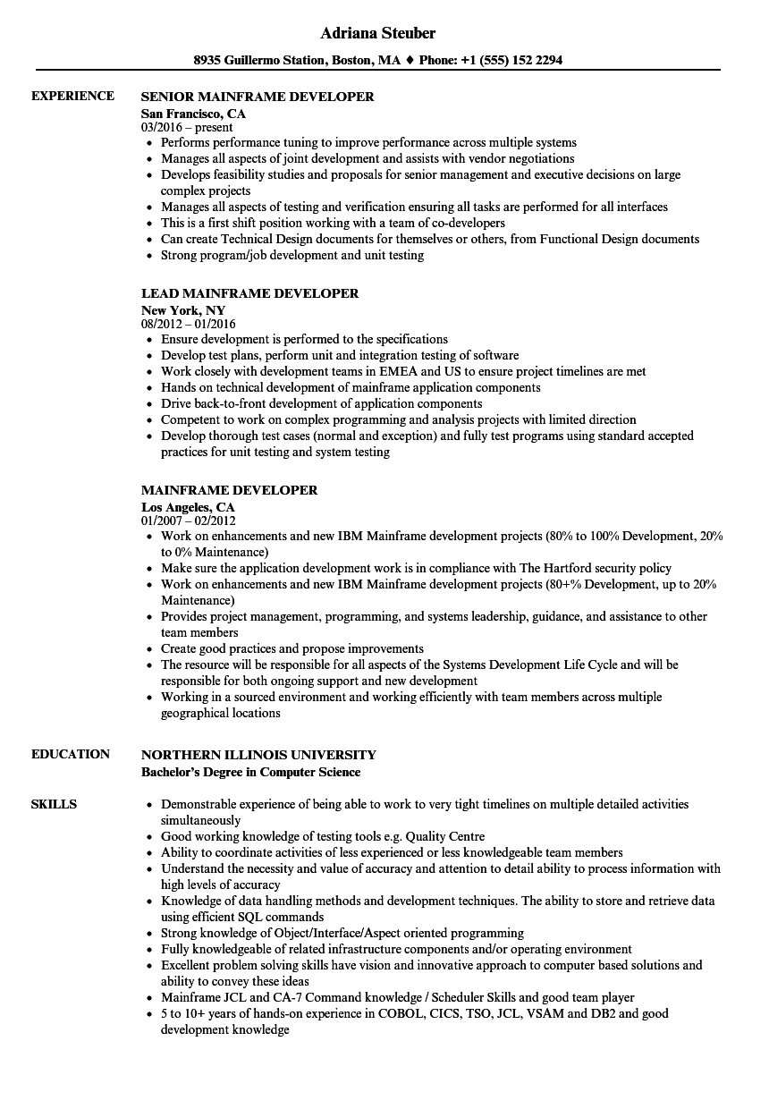 Mainframe Developer Resume Samples | Velvet Jobs