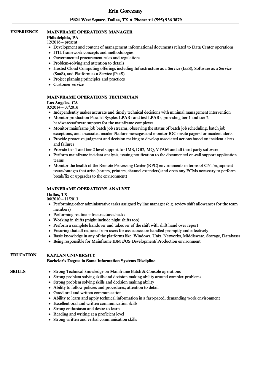 mainframe operations resume samples