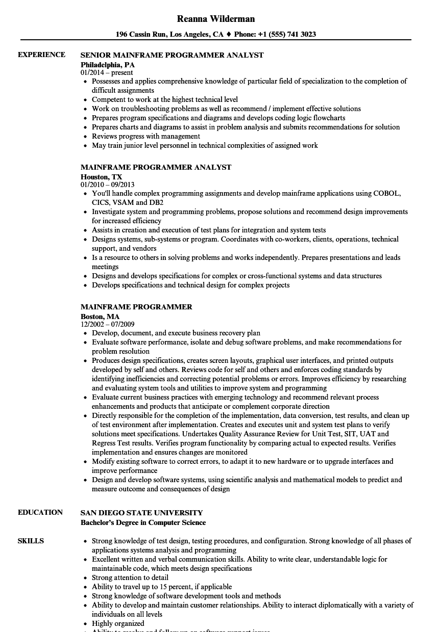 Mainframe Programmer Resume Samples | Velvet Jobs