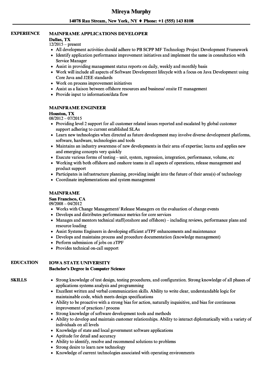 Mainframe Resume Samples | Velvet Jobs