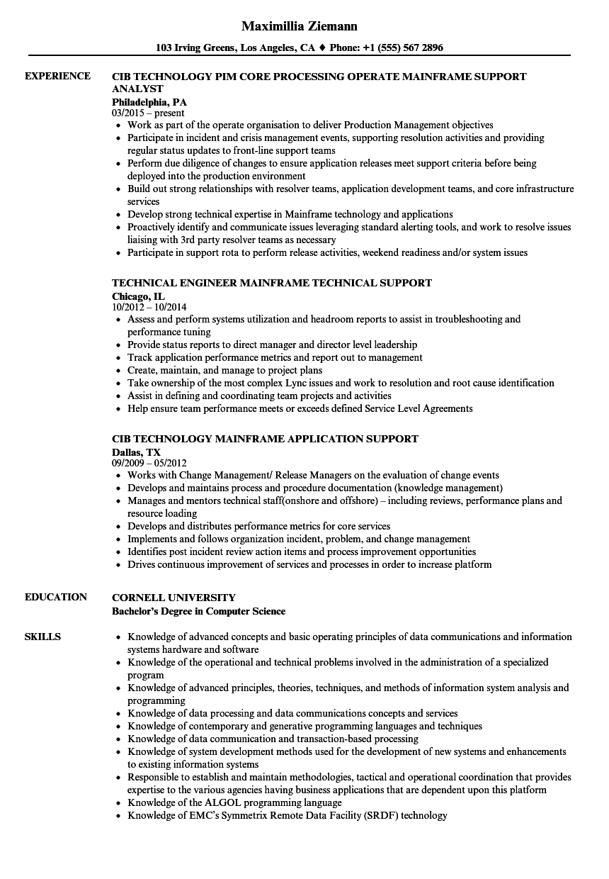download mainframe support resume sample as image file - Mainframe Sample Resume
