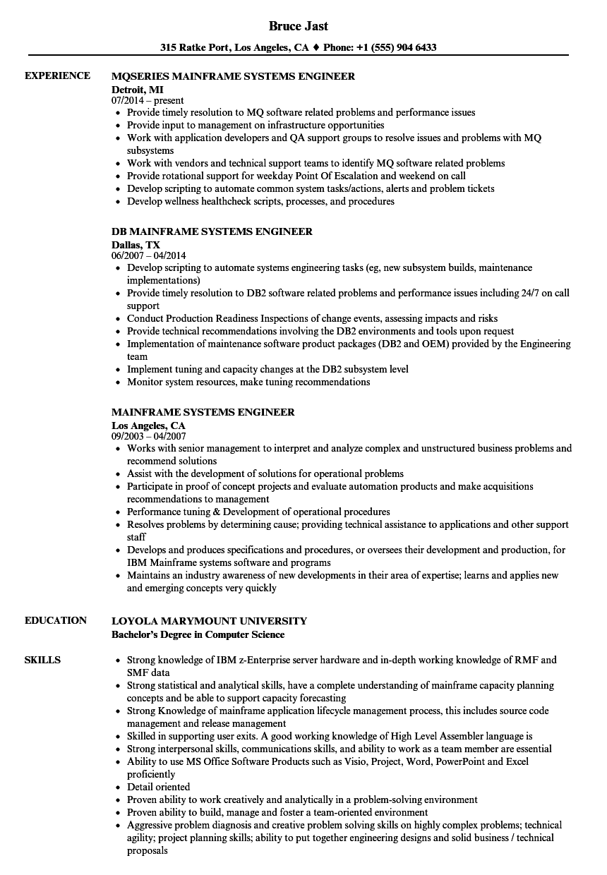Mainframe Systems Engineer Resume Samples | Velvet Jobs