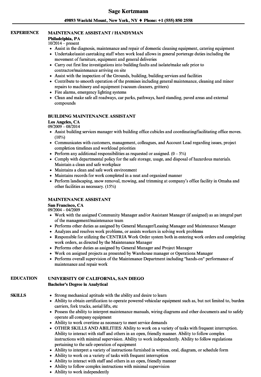 Maintenance Assistant Resume Samples Velvet Jobs