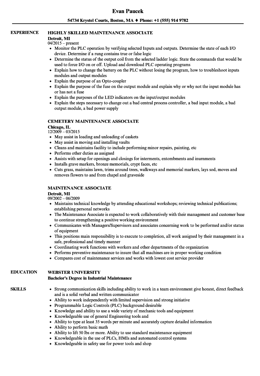 maintenance associate resume samples