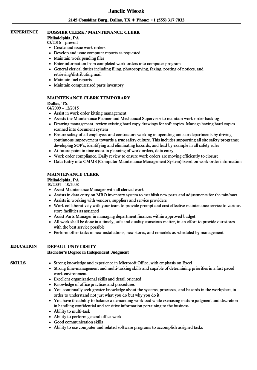 Maintenance Clerk Resume Samples Velvet Jobs