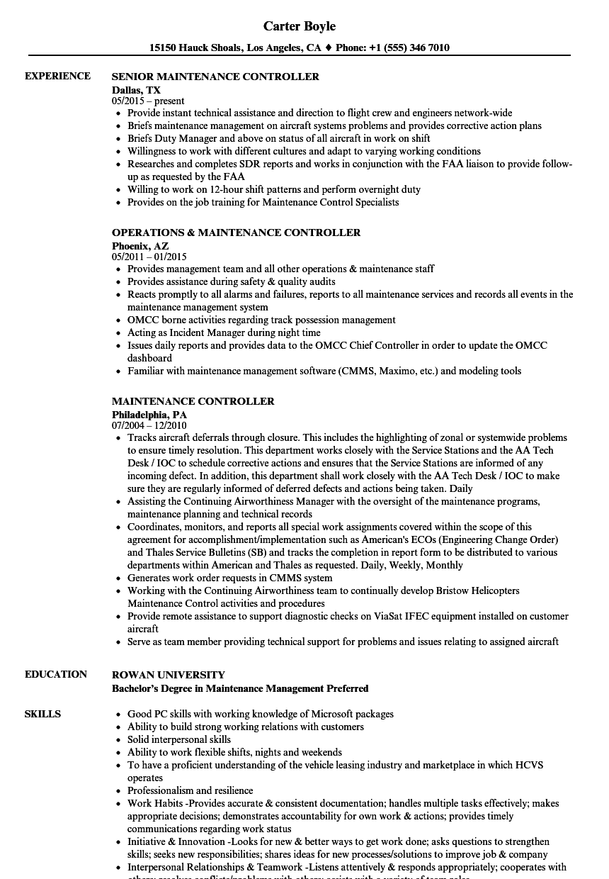 maintenance controller resume samples velvet jobs