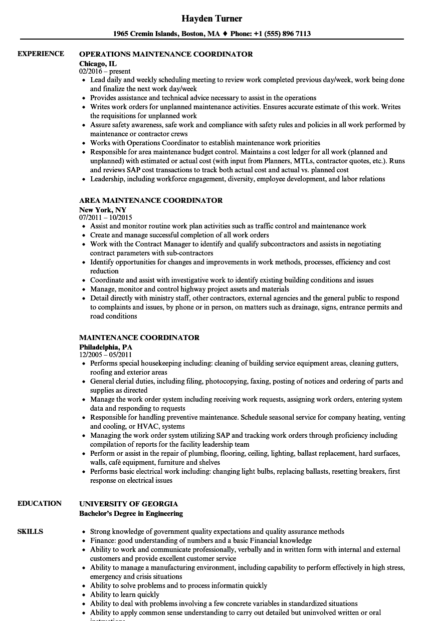 maintenance coordinator resume samples