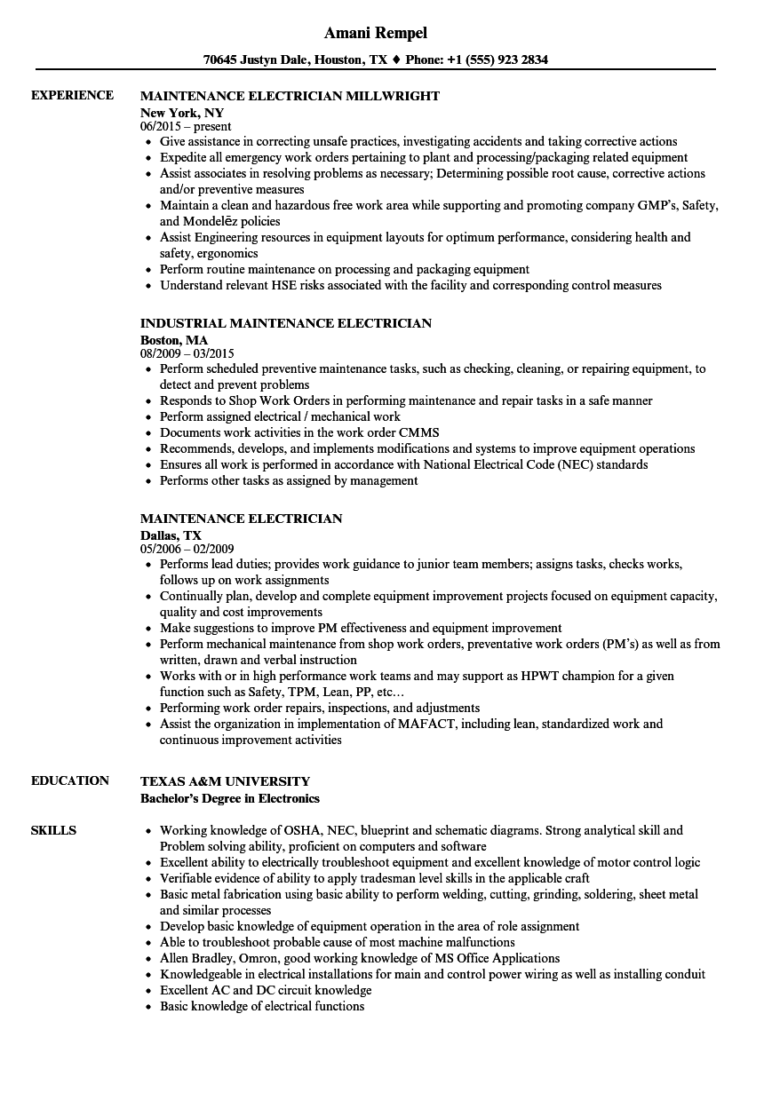 Maintenance Electrician Resume Samples | Velvet Jobs