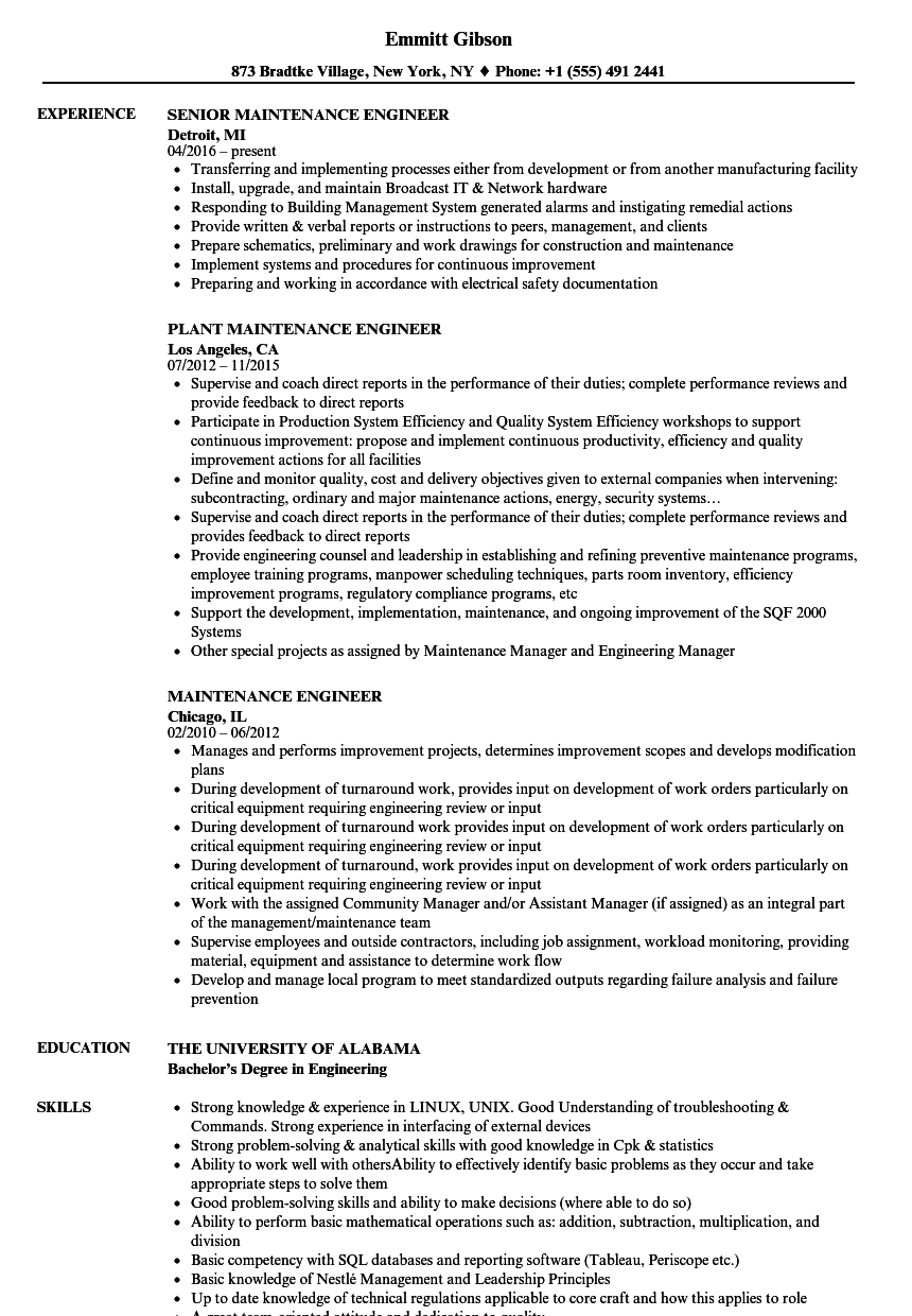 Maintenance Engineer Resume Samples Velvet Jobs