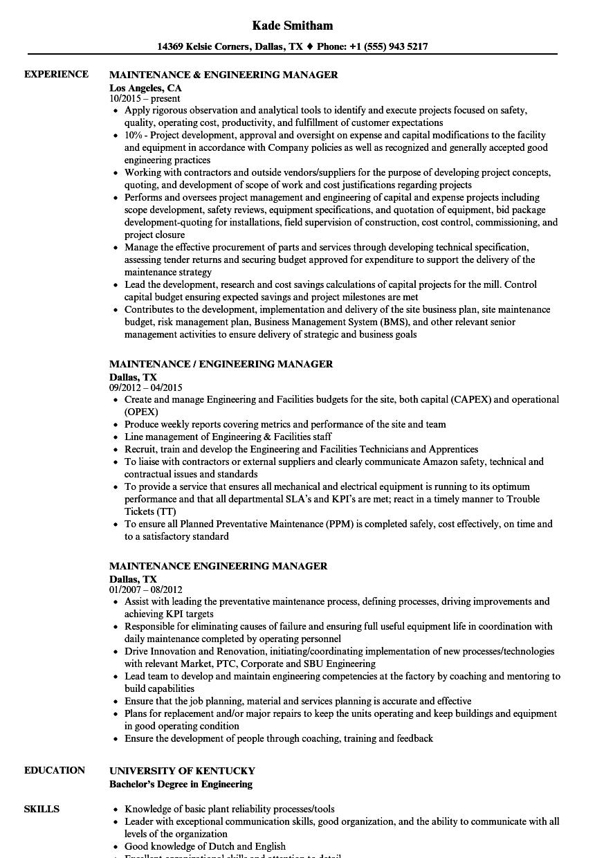 Maintenance & Engineering Manager Resume Samples | Velvet Jobs