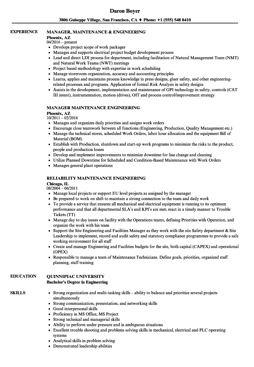 maintenance    engineering resume samples