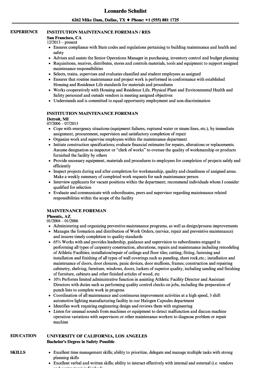 Maintenance Foreman Resume Samples Velvet Jobs