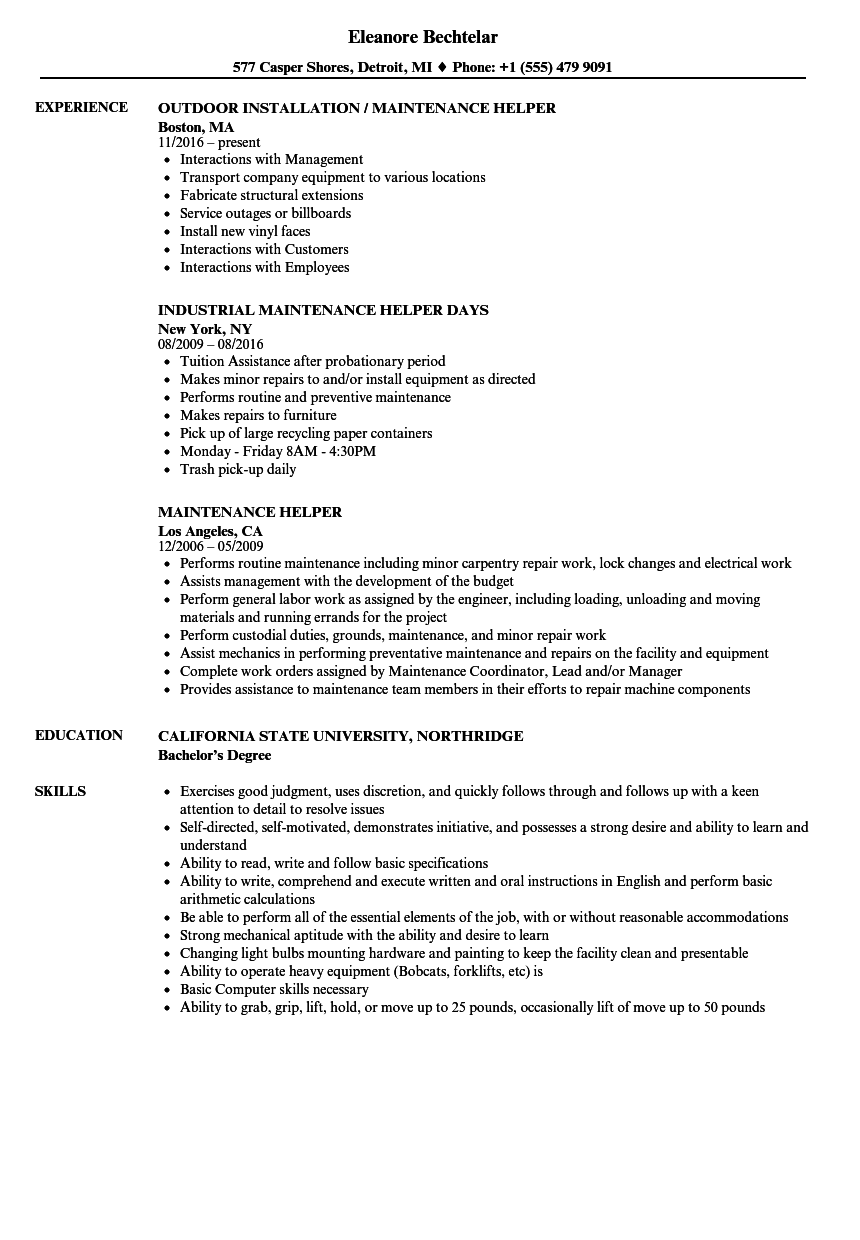 Download Maintenance Helper Resume Sample As Image File