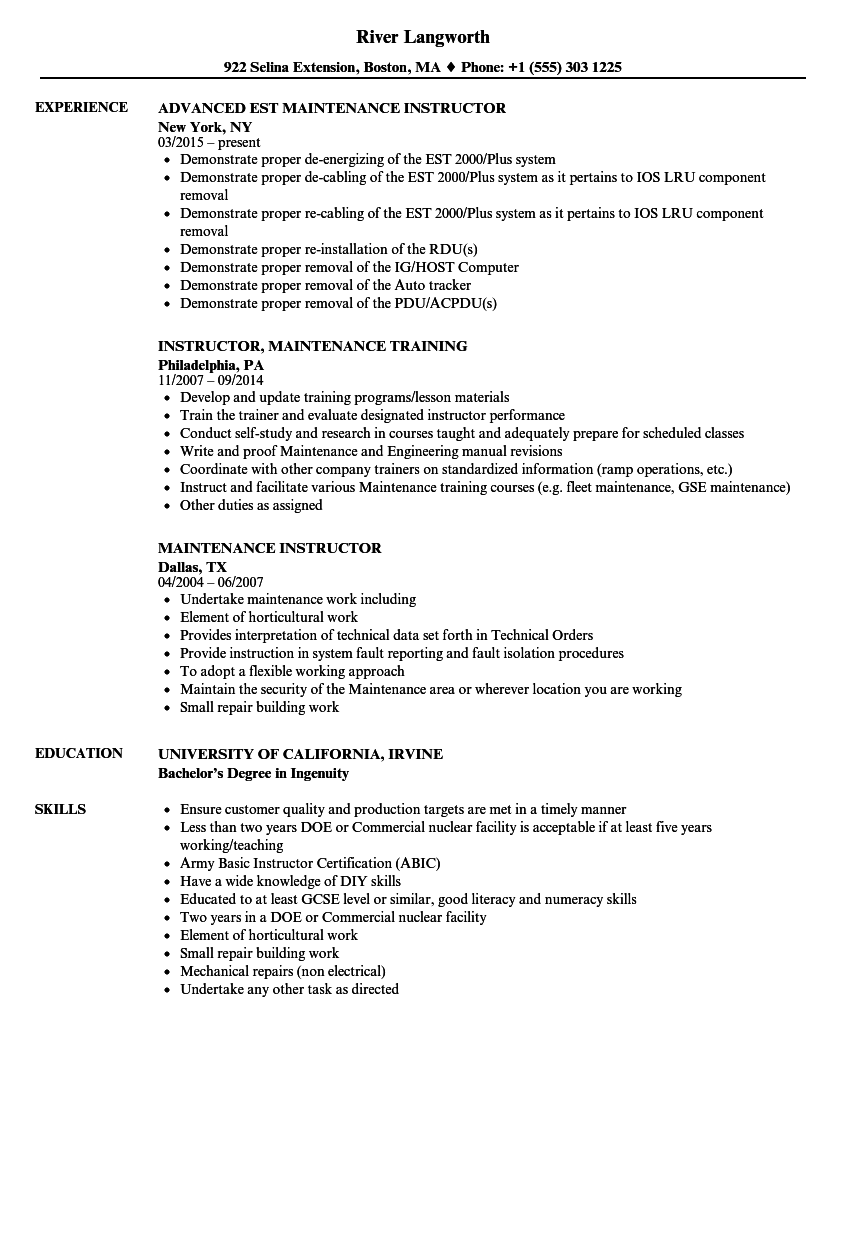 resume Instructor Resume maintenance instructor resume samples velvet jobs download sample as image file