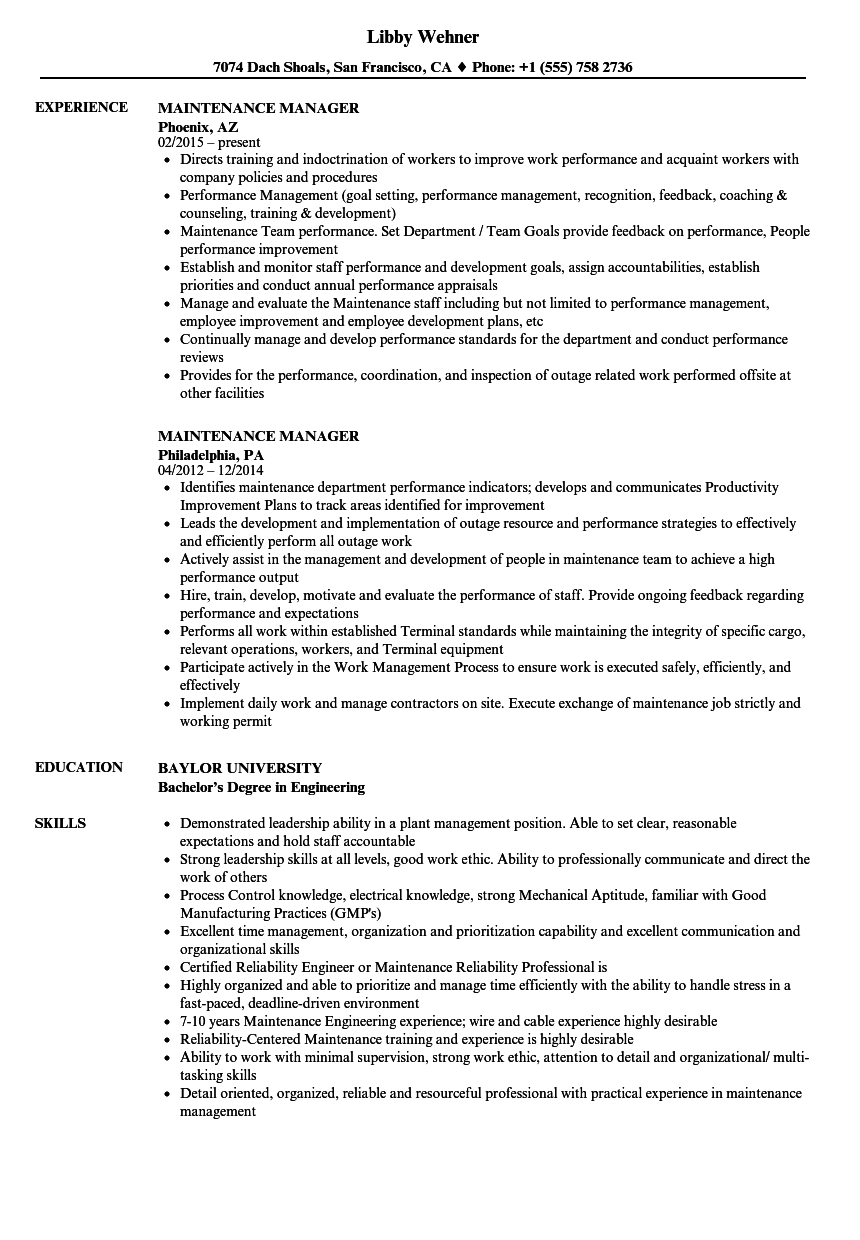 Awesome Download Maintenance Manager Resume Sample As Image File
