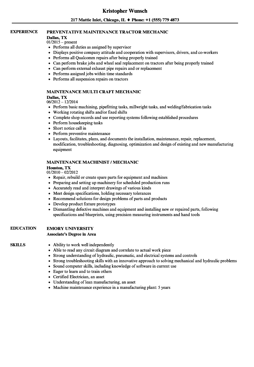 Uh 60 Mechanic Sample Resume free album templates od specialist ...