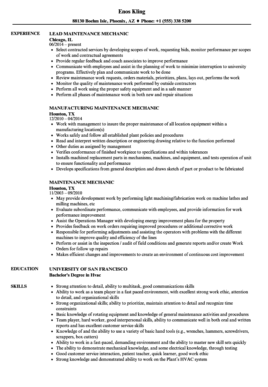 Maintenance Mechanic Resume Samples | Velvet Jobs