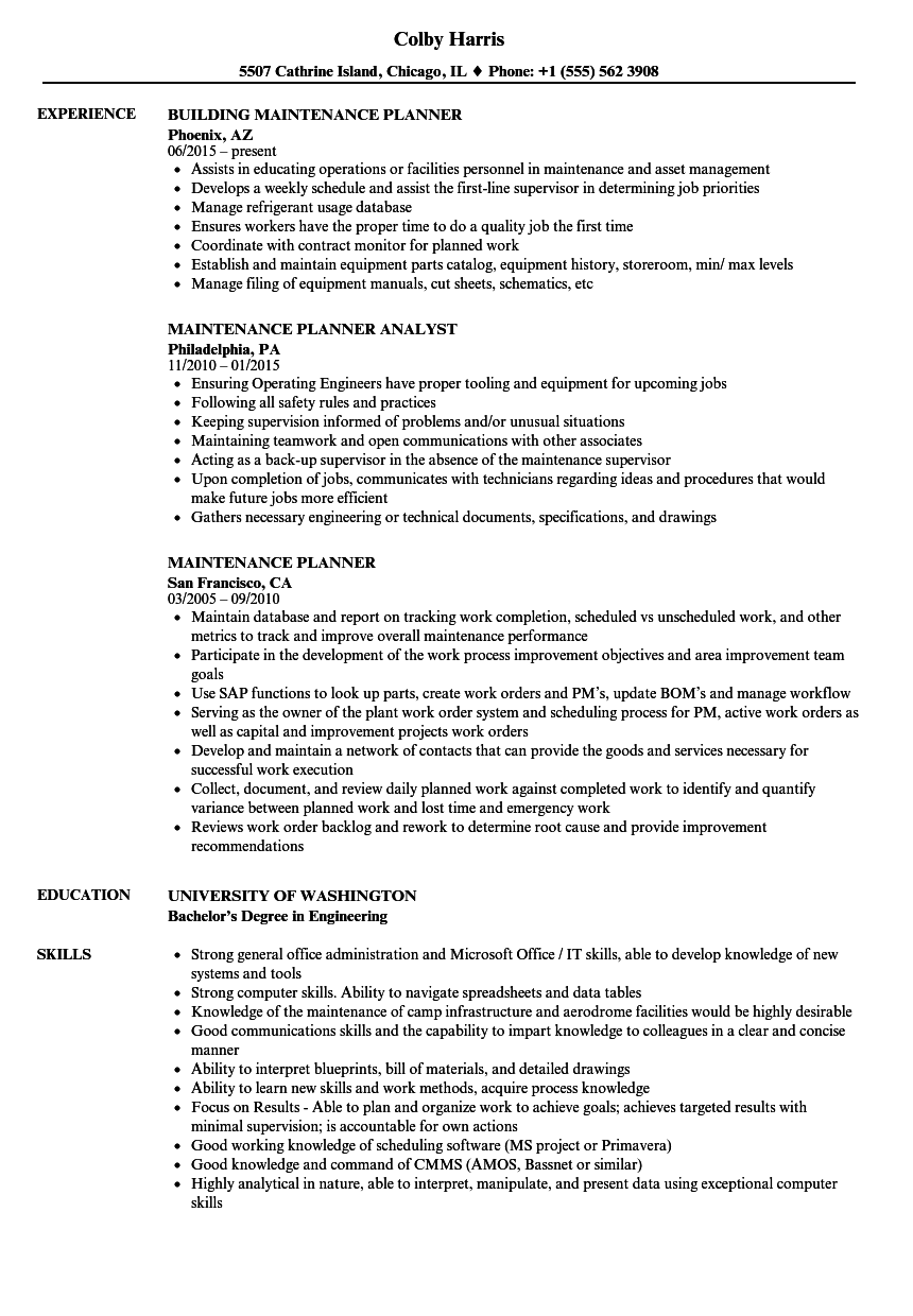 Maintenance Planner Resume Samples | Velvet Jobs
