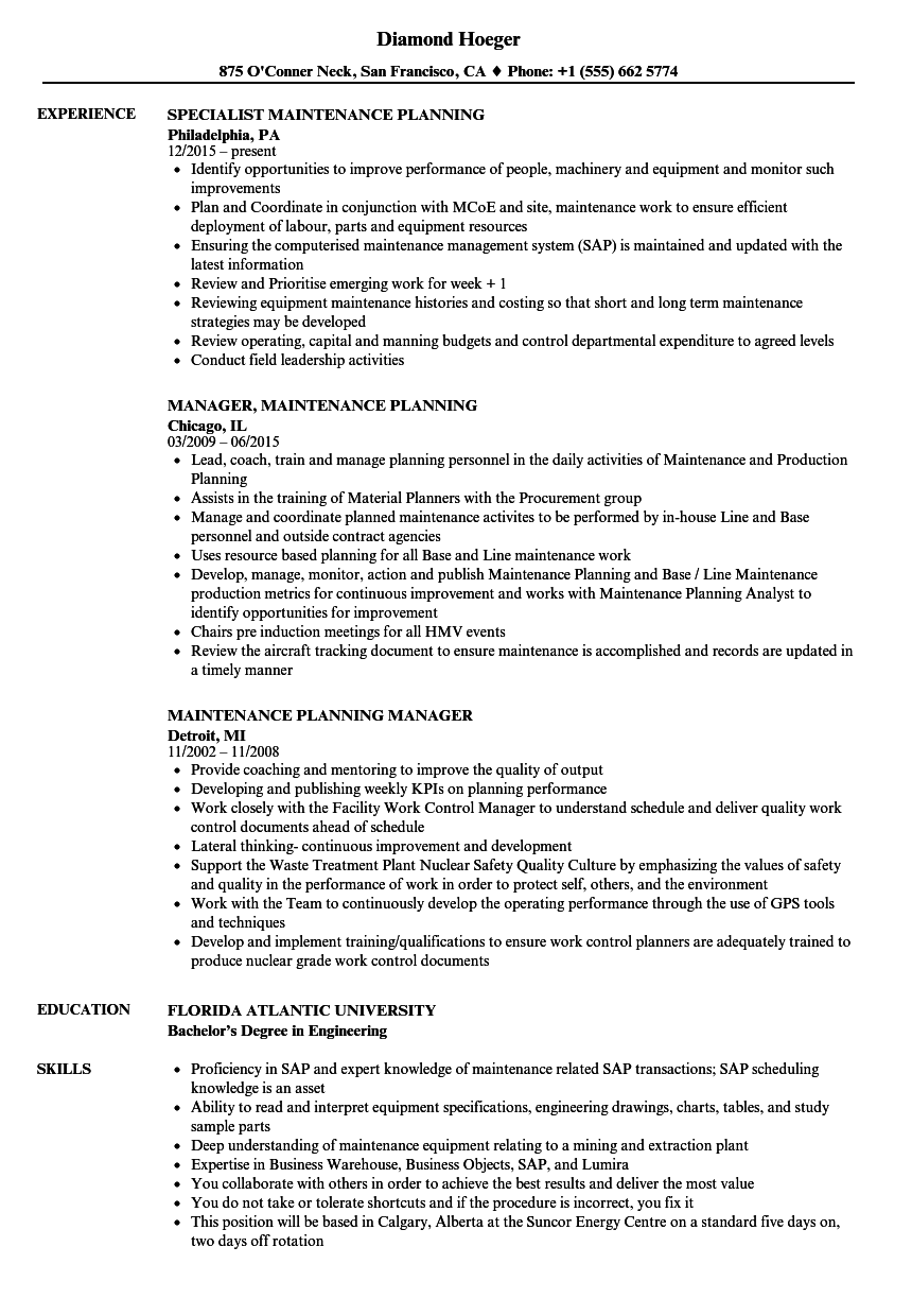 Maintenance Planning Resume Samples | Velvet Jobs
