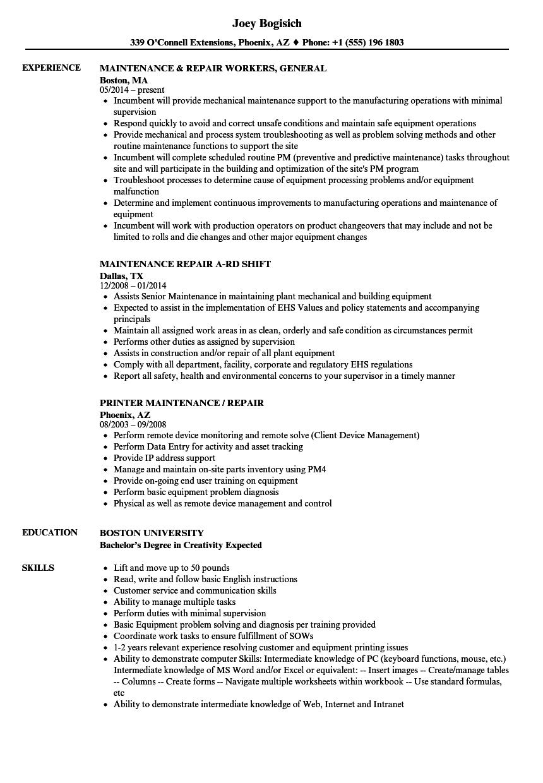 maintenance  u0026 repair resume samples