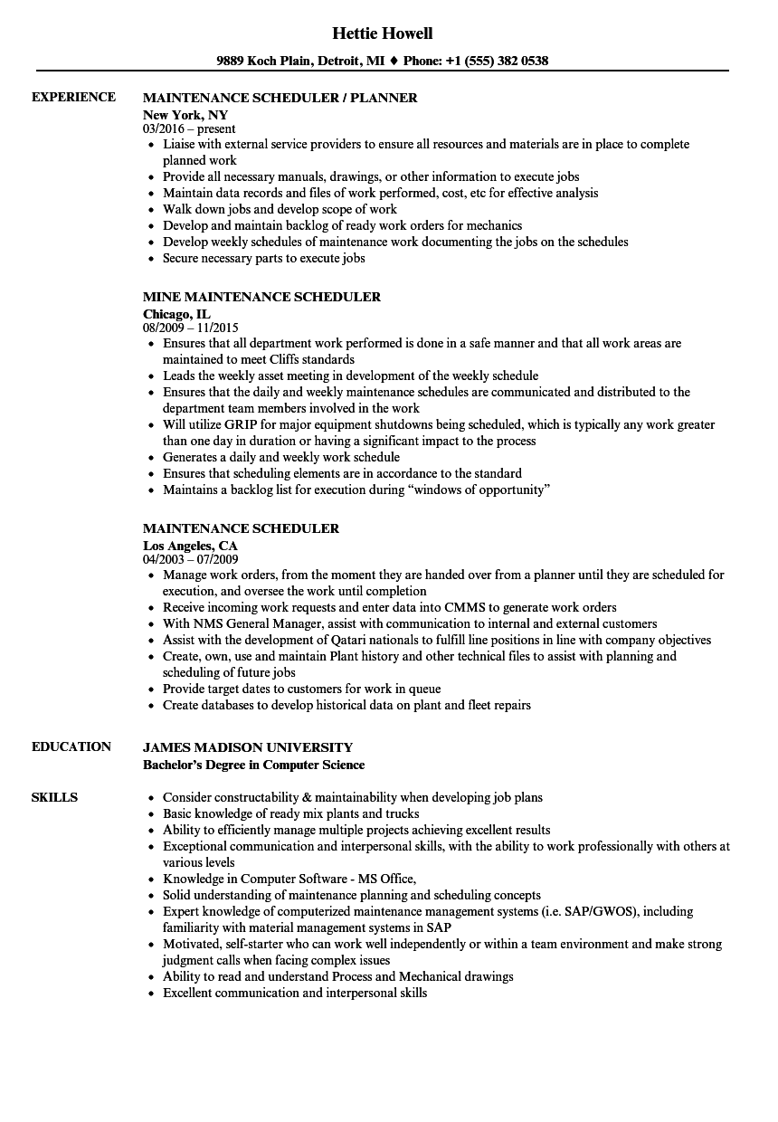 maintenance scheduler resume samples