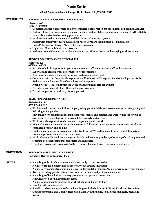 maintenance specialist resume samples