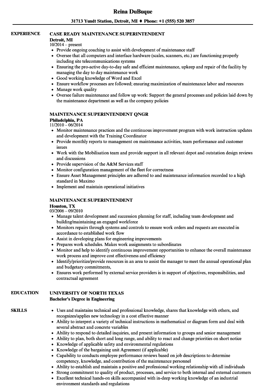 Maintenance Superintendent Resume Samples | Velvet Jobs