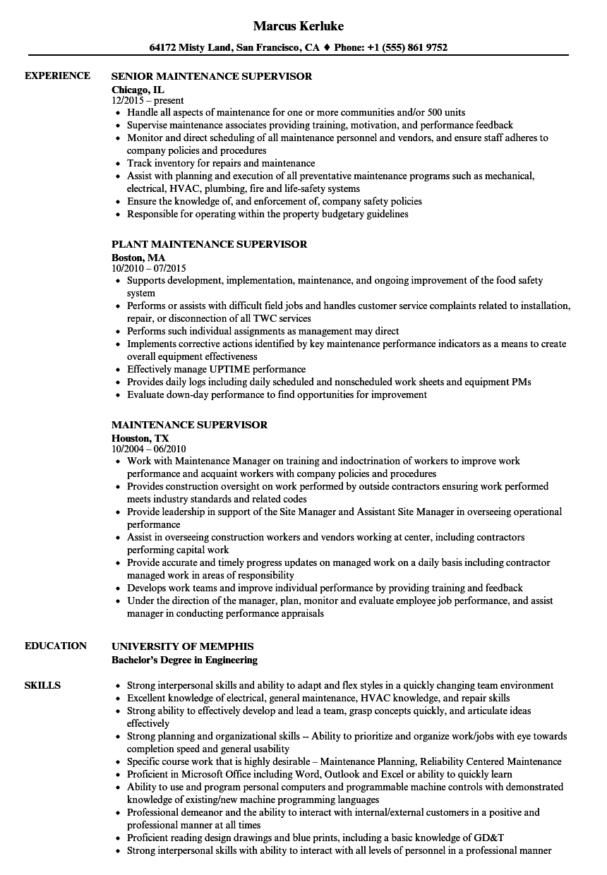 Maintenance Supervisor Resume Samples | Velvet Jobs