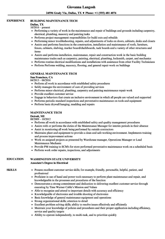 Velvet Jobs  Maintenance Tech Resume