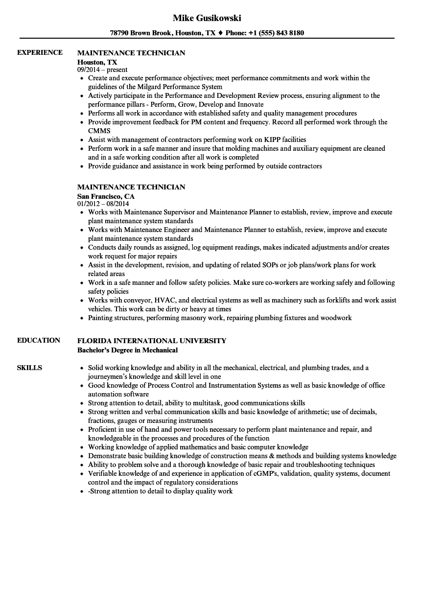 Maintenance Technician Resume Samples | Velvet Jobs
