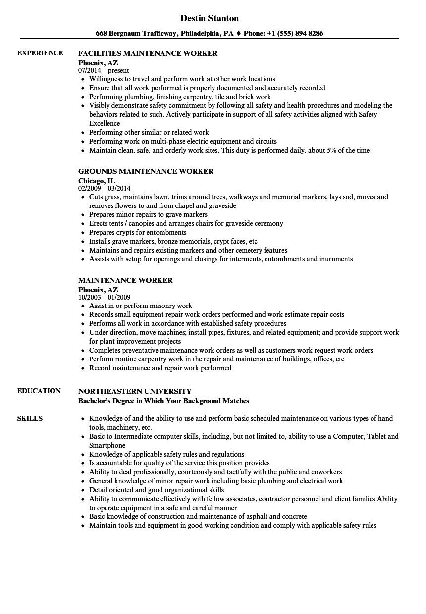 Maintenance Worker Resume Samples | Velvet Jobs