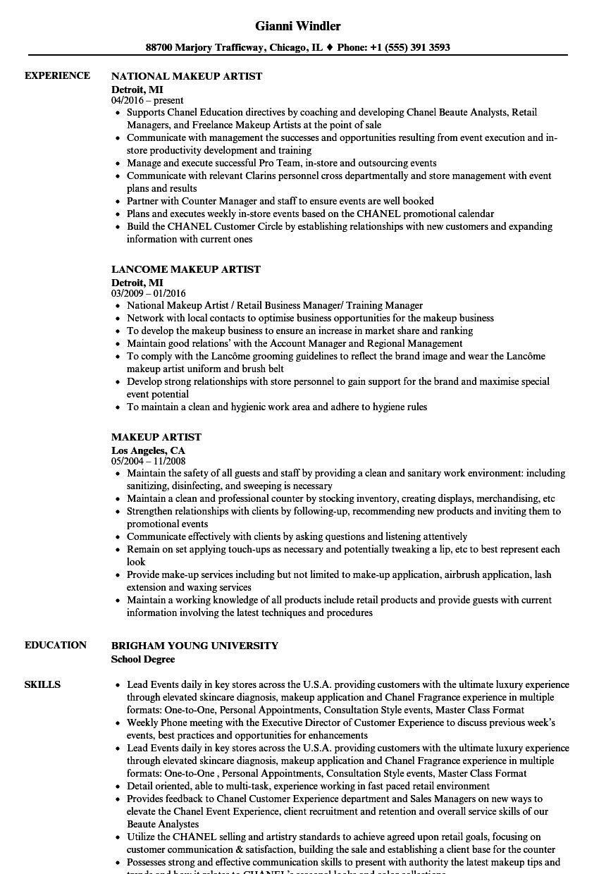 makeup artist resume samples velvet jobs