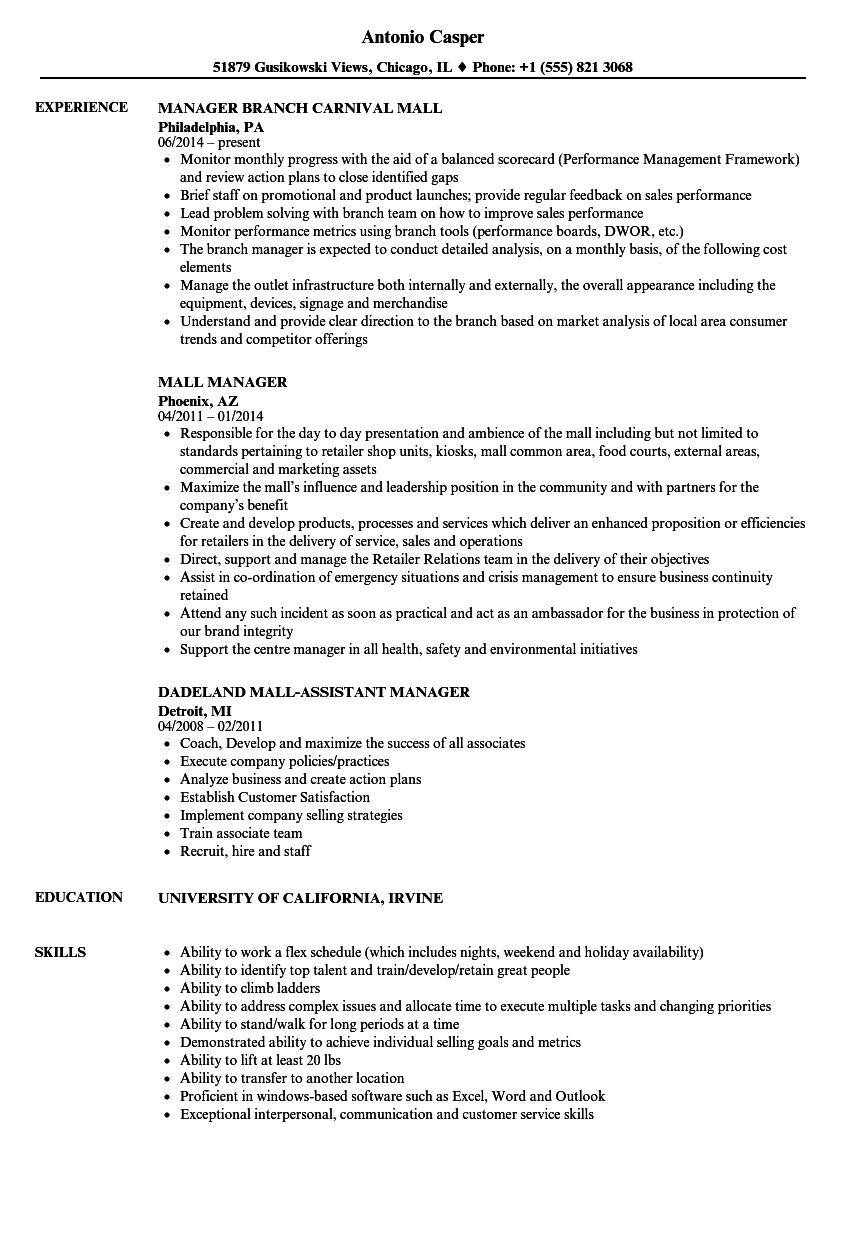 Mall Manager Resume Samples | Velvet Jobs