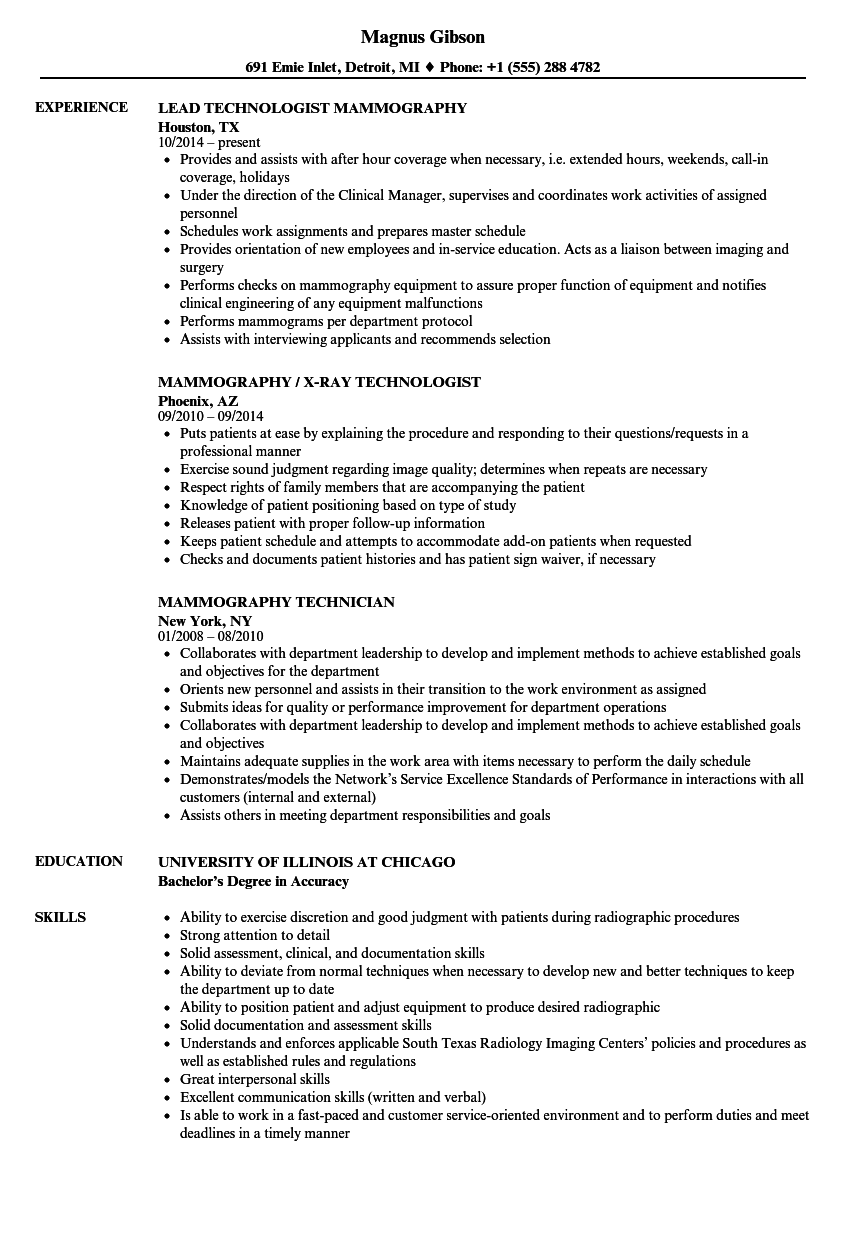 mammography resume samples velvet jobs