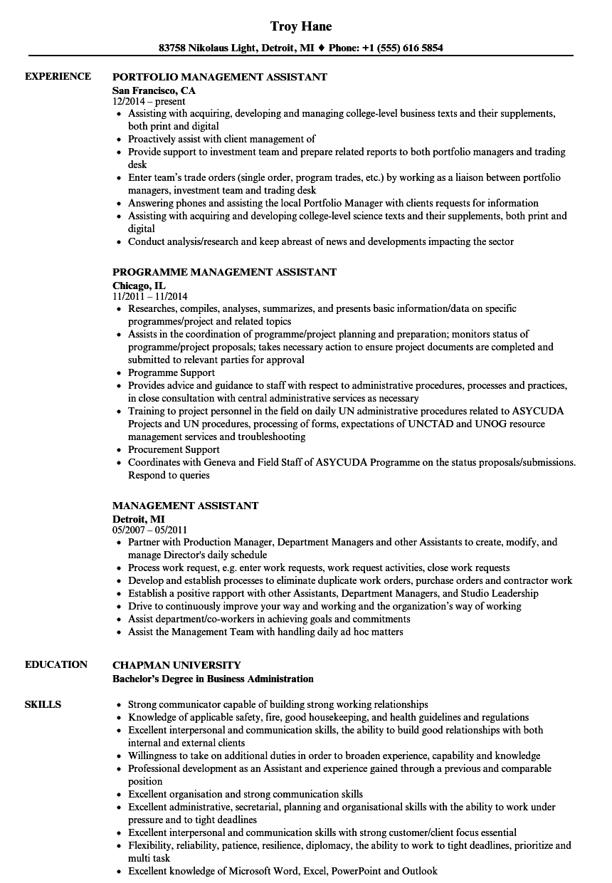 Management Assistant Resume Samples | Velvet Jobs