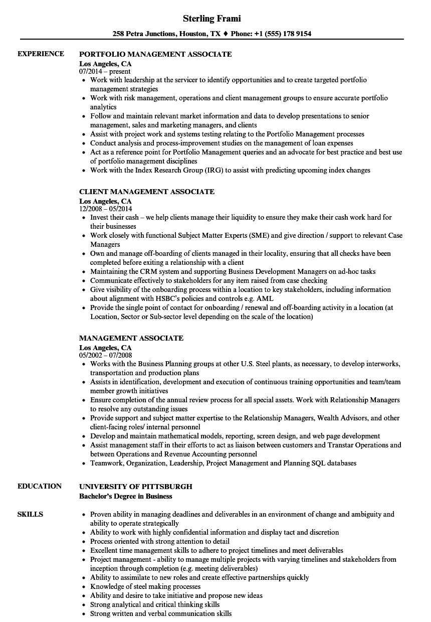 management associate resume samples