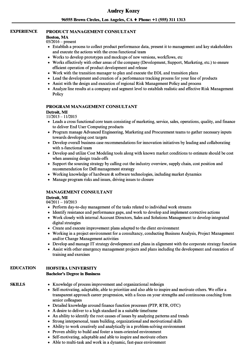 Management Consultant Resume Samples Velvet Jobs