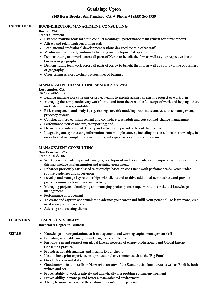 Management Consulting Resume Samples Velvet Jobs