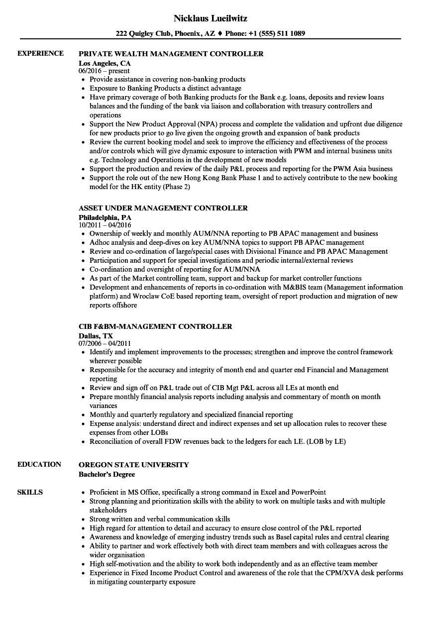 Management Controller Resume Samples | Velvet Jobs
