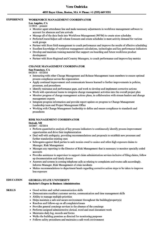 Download Management Coordinator Resume Sample As Image File