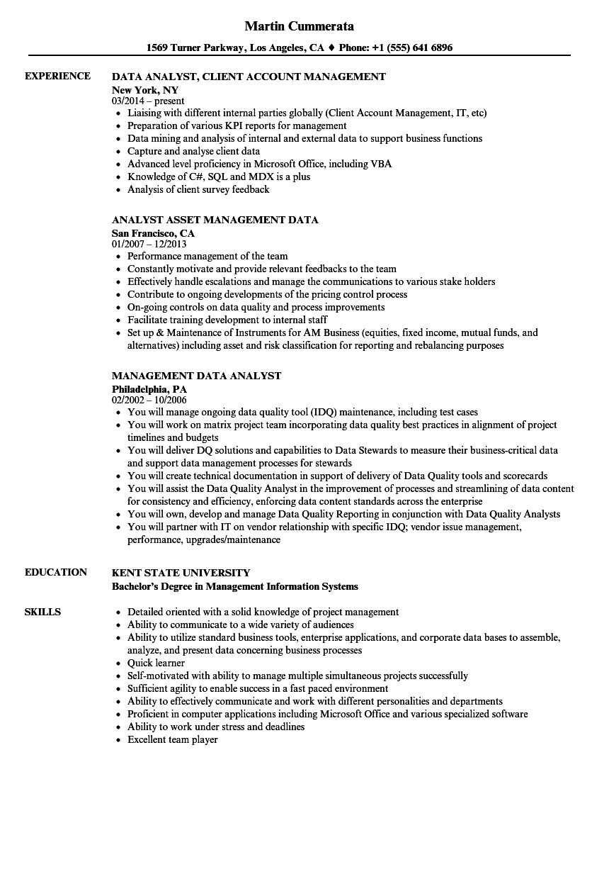 management data analyst resume samples