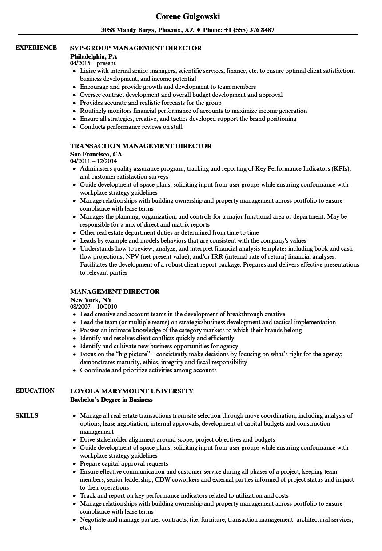 sample management director resume