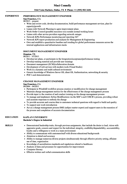 management engineer resume samples