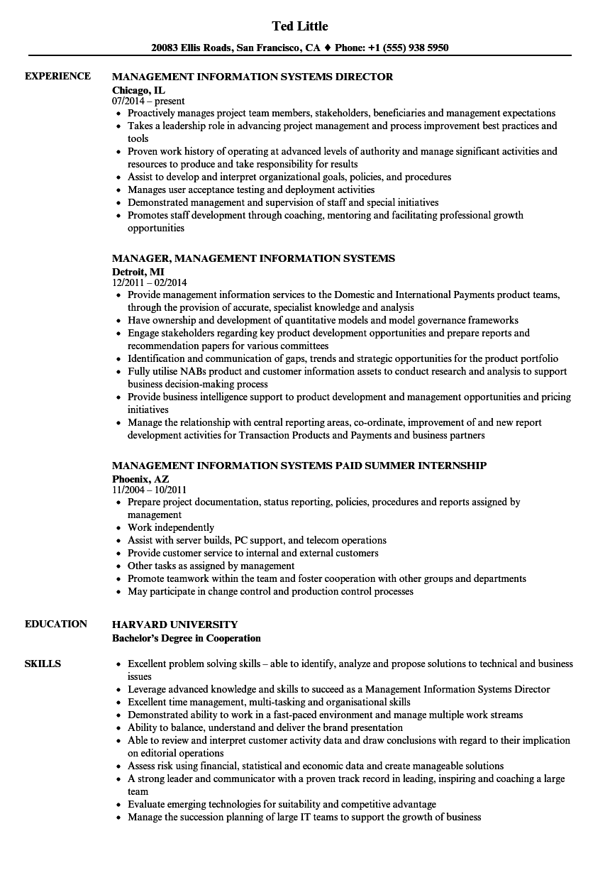 Management Information Systems Resume Samples | Velvet Jobs