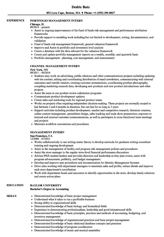Management Intern Resume Samples   Velvet Jobs