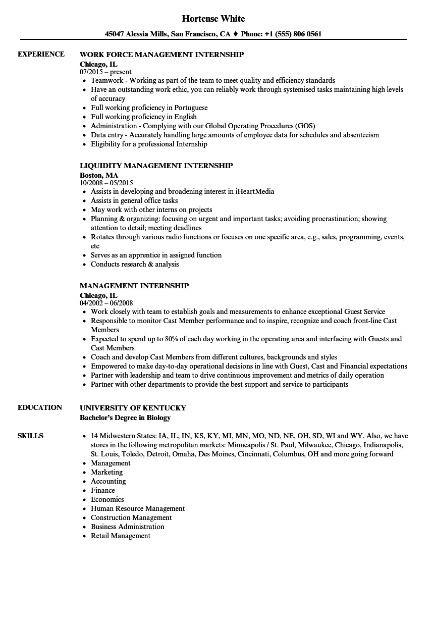 Management Internship Resume Samples | Velvet Jobs