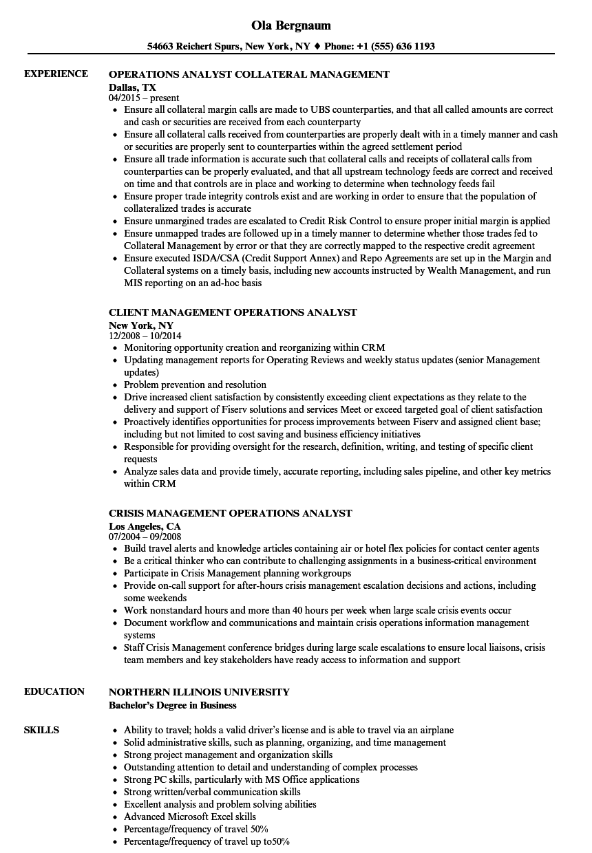 management operations analyst resume samples