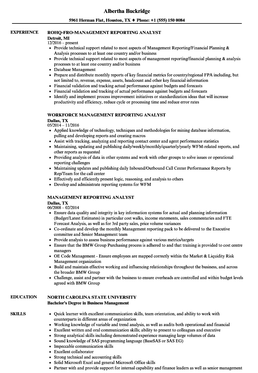 Management Reporting Analyst Resume Samples | Velvet Jobs
